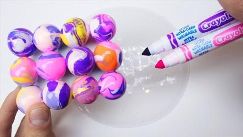 彩虹巴克球,搭配水晶泥和彩笔,自制无硼砂史莱姆