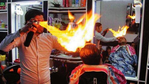 国外理发师用火理发,排队的人很多,女孩表示不敢尝试
