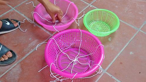 用菜篮子制作水泥花盆,好用成本低,这制作值得一学