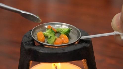 超治愈迷你小厨房!用蔬菜和肉泥做一道西餐,成品看起来超满足!