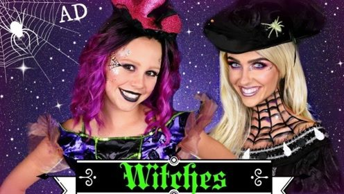 亲子美妆秀:母女俩化妆打扮成了万圣节女巫!