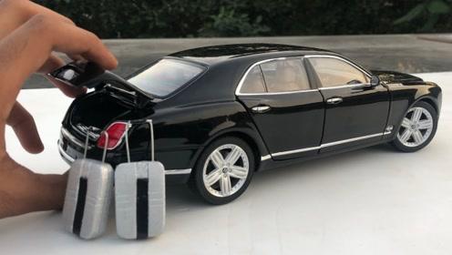 宾利MulsSune汽车模型拆箱,完美1:18