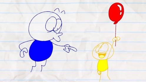 男孩一直吹气球,自己变成气球飞上天,最终却爆炸了!