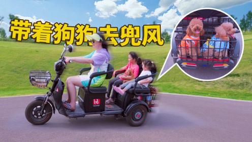 铲屎官骑三轮带2娃3狗飙车,汪星人玩嗨不回家,集体追着车跑!