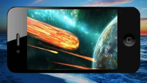 在手机上设置3D陨石动态壁纸,不同尺寸的陨石撞击地球,效果逼