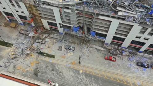 在建酒店突然倒塌路人惊慌逃窜 航拍废墟令人惋惜