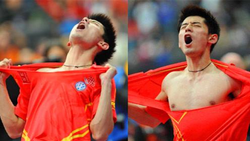 太狂!张继科赢得比赛后当众撕衣服被处罚,看看刘胖子的动作!