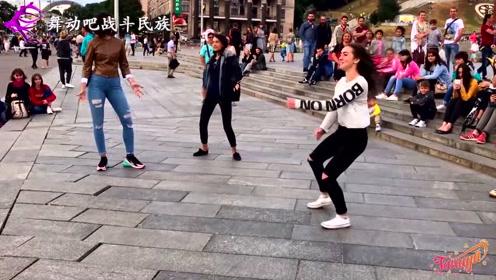 了不得!乌克兰女孩街头秀舞,观众眼都看直了