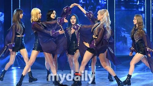 韩女团穿薄纱皮短裤热舞