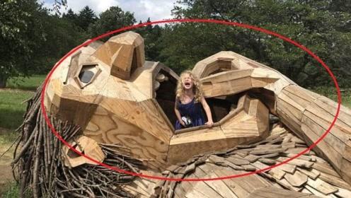 丹麦突现7只巨型木制雕塑,引万人寻找,森林瞬间变成童话故事!