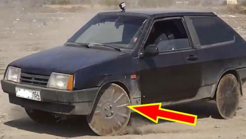 把汽车轮胎换成井盖会如何,牛人大胆尝试,下秒遭殃了!