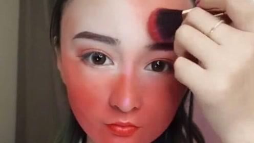 妹子挑战涂100层红色的眼影,简直比猴屁股还红!