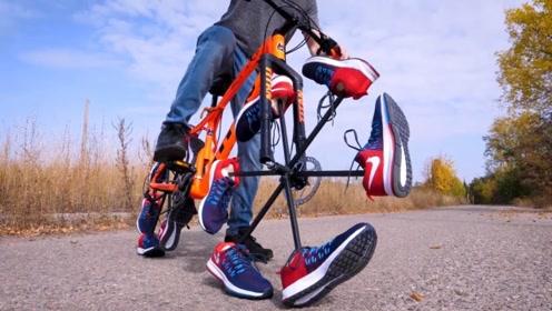 把自行车的轮胎替换成鞋子,这上路也太拉风了!