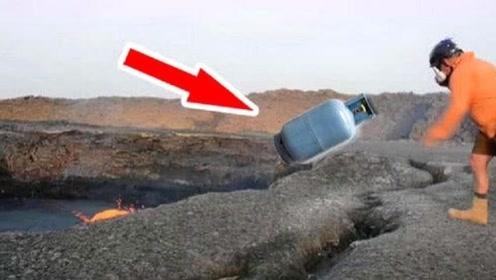 """不可思议的实验,外国小伙,将""""煤气罐""""扔到火山口,结果意外发生了"""