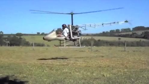 牛人自制直升机,离成功只差那么一点