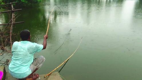 印度大哥冒雨野钓,用根小竹竿瞬间钓上大家伙,看来有两把刷子