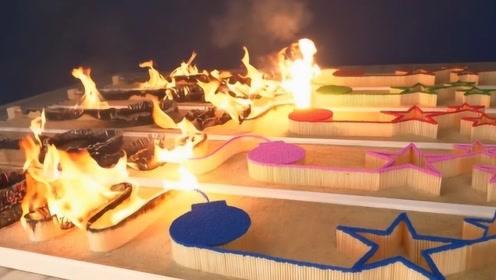 五种不同颜色堆积的火柴多米诺,老外作死点燃,哪种颜色烧的最快?