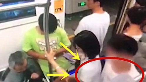 男子乘地铁手偷摸臀部猥亵女子,女子不敢声张,监控拍下全程!