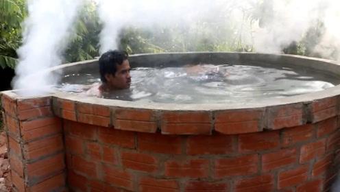 小哥在野外自己搭建温泉,这也会太享受了!