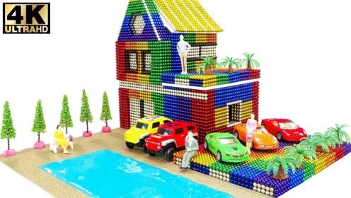 手工DIY:用巴克球制作别墅,带有游泳池和停车场
