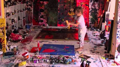 """3岁女孩身价过亿,靠""""灵魂""""创造艺术,竞拍者直呼太美了!"""