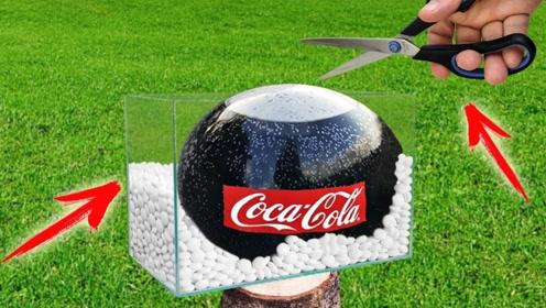 趣味实验:可乐加曼妥思混合神秘物质,发生反应的画面太美了!