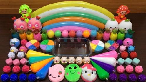 DIY史莱姆教程,彩色亮片+彩虹起泡胶+凯蒂猫黏土,好玩又解压!