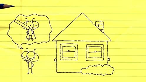 搞笑铅笔动画,小屋的怪现象,为啥有的人就是进不了