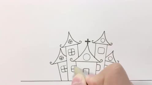 万圣节恐怖城堡简笔画,简单又好画,大家学会了吗