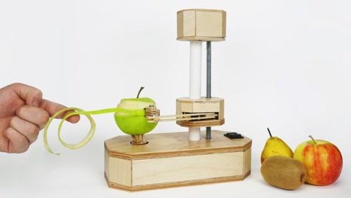 小伙自制削皮机,水果蔬菜都可以,简单实用,方便多了!