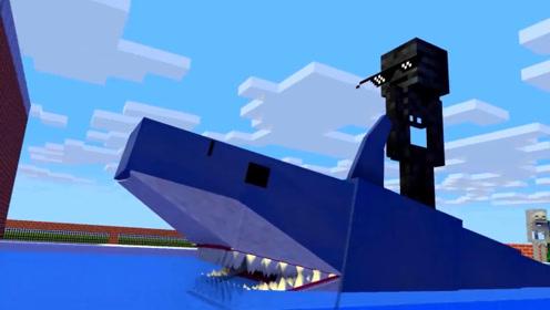 怪物们举办游泳比赛,僵尸被鲨鱼吃掉,凋零骷髅竟然骑着鲨鱼前进!