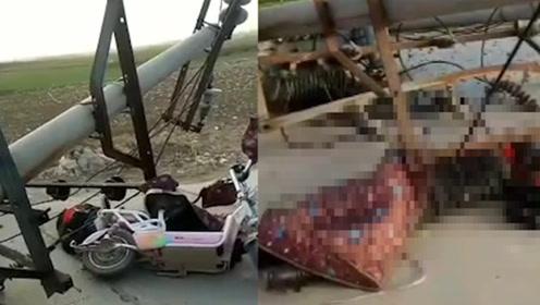 悲剧!大风吹倒电线杆,女子骑电动车上班途中被砸当场身亡