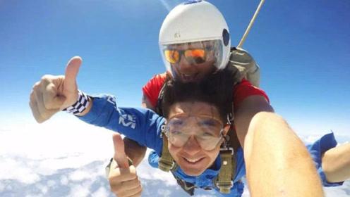 不老男神林志颖挑战高空跳伞极限 空中竖大拇指笑容轻松