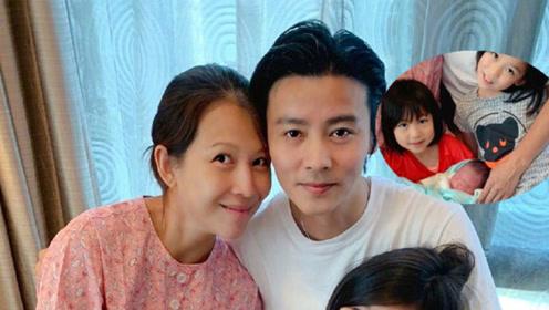 张晋蔡少芬宣布三胎得子喜讯 晒一家五口幸福合照