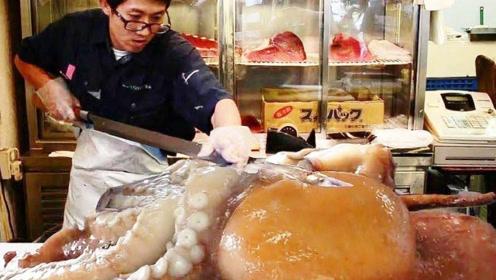 民间高手到底有多厉害?比人大的活章鱼,随手切成了美味