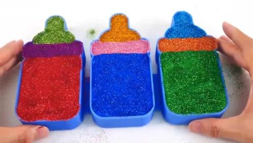 别让孩子玩手机了,用五颜六色的史莱姆来DIY奶瓶造型,太有趣了!