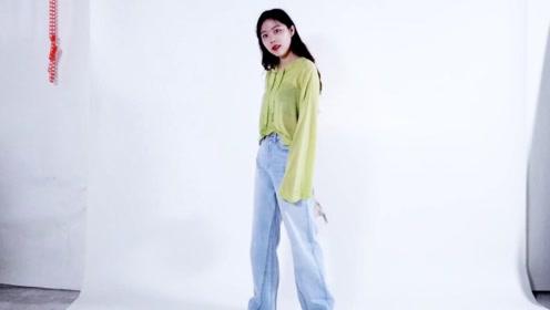 搭配高腰阔腿裤 减龄的韩系少女校园风