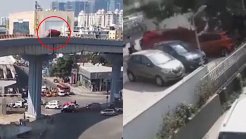 惊魂一刻!汽车冲出高架桥护栏,砸到桥下路人造成一死数伤