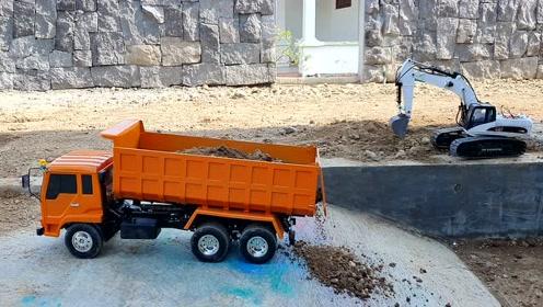 儿童遥控RC卡车与RC挖掘机