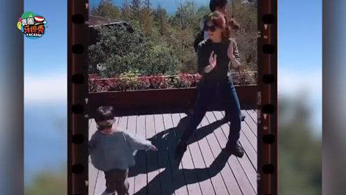"Ella母子同台""斗舞"",劲宝手舞足蹈魔力转圈圈"