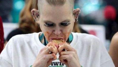 最能吃的女人,30分钟501根鸡翅,粉碎机般的嘴让人佩服