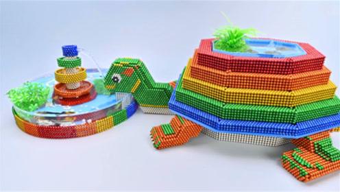 创意巴克球,如何用彩色巴克球建造小乌龟水族馆?