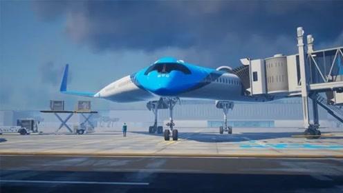 像裤子的大型客机,让乘客坐在机翼上飞行,像在表演马戏省油20%