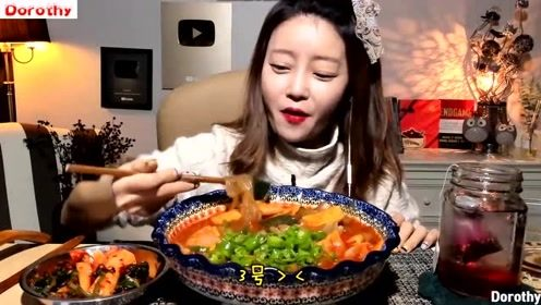 韩国吃播宽粉姐姐吃各种宽粉组合,好吃到停不下来!