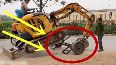 为了给挖掘机装个底盘,三轮车都出动了,不料下一秒就惨了!