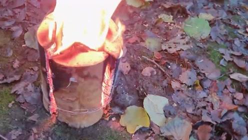 老外将木块这样处理,既是燃料又是炉子,真是天才发明
