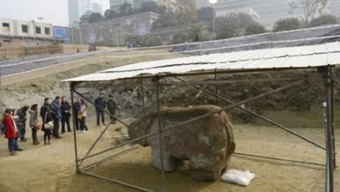 成都广场挖出千年神兽,8.5吨引起关注,当地却说和都江堰有关