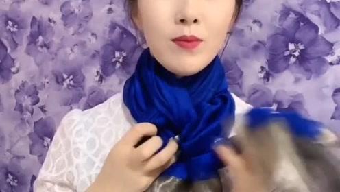 蓝色围巾这样系,超级优雅有气质