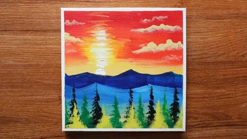 手工绘画教程,山林风景的简单画法!