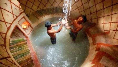农村哥俩在深山老林,打造豪华地下泳池,成品惊艳众人!
